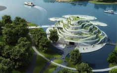 "Cycle Around a Museum's Exterior - China (2) - Architecture & design firm JDS Architects created the stunning Chongming Bicycle Park for a competition proposal. Called an ""urban oasis,"" it consists of a museum, visitor center & multi-purpose hall."