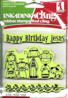 Rubber Stamp Set  --  NEW  -- Happy Birthday Jesus  -- Inkadinkado Brand…