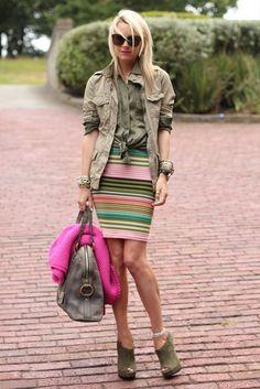 Top: Equipment. Jacket: Gap. Skirt: Asos. Shoes: c/o Pour La Victoire. Bag: YSL (similar bag). Sunglasses: Karen Walker. Jewelry: David Yurman (bracelet c/o), Pomellato, IWC Watch, Chan Luu, Gap, BR. Sweater: Zara. Lips: Nars Schiap.