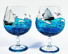 Hand Painted Wine Glasses - Ocean Painted Glasses - Set of 2 Hand Painted Glasses - Blue Ocean Glass