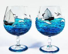 Hand Painted Wine Glasses - Ocean Painted Glasses - Set of 2 Hand Painted Glasses - Blue Ocean Glass