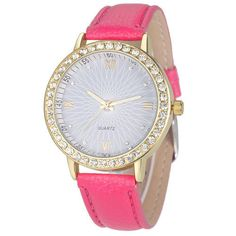 Rhinestone Fashion Case Formal Pu Leather Hot Pink Band Girl Gift Wristwatch #Unbranded #DressFormal