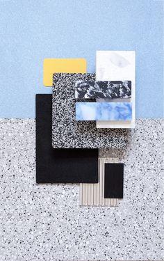 studiodavidthulstrupWeekly Material Mood ~ Rubber Flooring & Recycled Plastic #pattern #recycling #material #plastic #blue #colors #aluminium #inspiration #interiordesign #architecture #moodboard #materialmood #studiodavidthulstrup