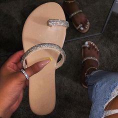new sandals women bright diamond casual outdoor travel flip flop beach shoes non-slip durable slippers Bling Flip Flops, Beach Flip Flops, Glitter Flip Flops, Bling Sandals, Flat Sandals, Sandals Outfit, Boho Sandals, Crocs, Peep Toe