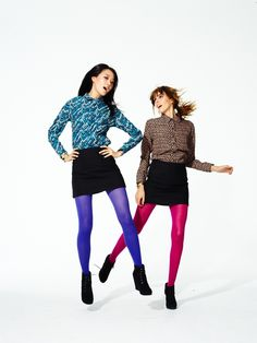 Colorful tights paired with pattern.    #targetstyle #fallingfor