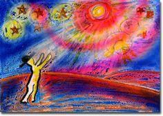 新月紫紺大作の子供部屋に飾る絵 タイトル「愛の星に…パパ&ママ」