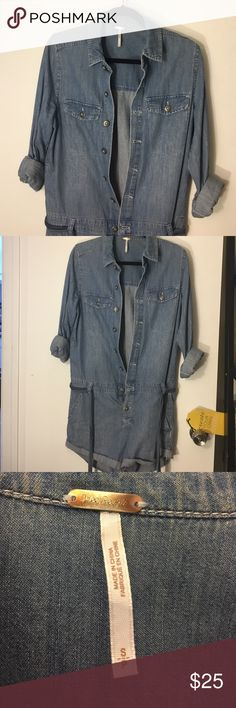 Free People denim romper Worn two times. Denim romper, button front. Very soft and comfy, great for summer or spring. Free People Other