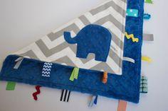 Chevron elephant lovey lovie blanket, sensory blanket toy, royal electric cobalt blue grey gray, modern baby boy gift on Etsy, $24.00