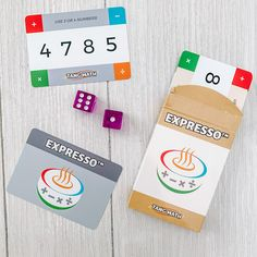 Practice multiplication, division, subtraction & addition with our fun card game, Expresso! Available now on Amazon #math #mathgames #mathpractice #mathworksheets School Projects, School Ideas, Multiplication Practice, Math Tubs, Fun Card Games, Math Games For Kids, Numbers Kindergarten, Fact Families, Physical Education Games