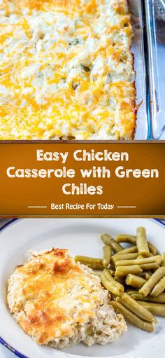 Easy Chicken Casserole with Green Chiles - Best Recipe 005 Best Dessert Recipes, Mexican Food Recipes, Easy Recipes, Healthy Recipes, Desserts, Grilled Chicken Recipes, Chicken Meals, Casserole Recipes, Chicken Casserole