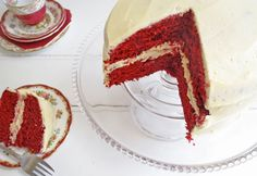 A rich, moist, sweet cake with a dark red colour.