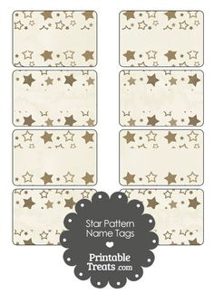 Vintage Brown Star Pattern Name Tags from PrintableTreats.com