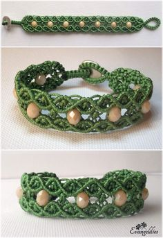 Macrame double wave bracelet. Looks so elegant in every color! Video tutorial by Macrame School: https://www.youtube.com/watch?v=XTk_yqhGwiA
