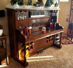 Custom piano bar repurposed by Chadima Furniture and Restoration in Cedar Rapids, IA