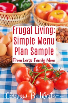 Frugal Living: Simple Menu Plan Sample From Large Family Mom Frugal Meals, Budget Meals, Easy Meals, Family Meal Planning, Menu Planning, Frugal Living, Frugal Family, Large Family Meals, Good Enough To Eat