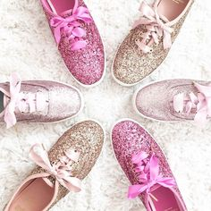 Choose your favorite pink ~ Blush Pink Matte Glitter, Carousel Pink Glitter or Rose Gold Glitter ~ Keds X Kate Spade New York Champion Glitter sneakers Sparkly Shoes, Glitter Shoes, Pink Glitter, Estilo Converse, Baskets, Green Wedding Shoes, Sock Shoes, Keds Shoes, Or Rose