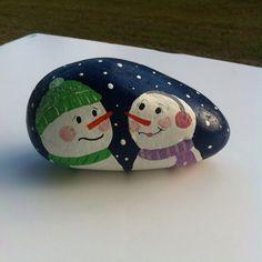 Snowman love painted rock