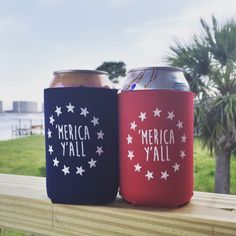 These patriotic koozies are perfect for celebrating America year-round! This design is available on a red or navy neoprene koozie screened in white. Vinyl Designs, Shirt Designs, Spring Projects, Craft Night, Cricut Creations, Cricut Vinyl, Diy Signs, Vinyl Projects, Silhouette Projects