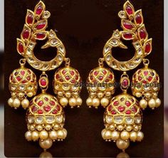 Three Jhumka Hanging Earrings - Jewellery Designs