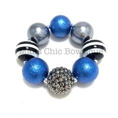 Toddler Fancy Fall Chunky pearl bracelet, Flower girl chunky bracelet, Royal Blue, Dark Grey, Black and White Striped Chunky bracelet, OTT