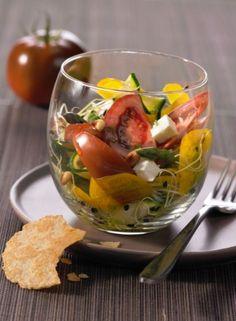 Verrine fraîcheur aux tomates, courgettes et graines germées