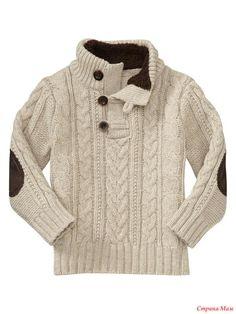 Вот такой свитер будем вязать для на ших любимых маленьких мужчин! Точной схемы нет, поэтому ниже я предлагаю схемы кос и аранов, которые подходят больше всего к данному узору.