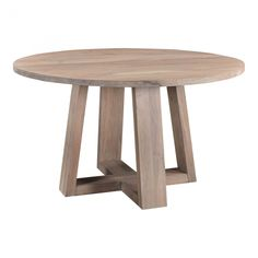 """Availability: If in stock, ships within 2-3 business days after processing time. Sweetly bright in a Scandinavian whitewashed finish, made of solid acacia wood with an organically inspired whitewash finish. With seating for 4, this table works perfectly in a condo or smaller living space. Product Dimensions: 54""""W x 54"""" Round Wood Dining Table, Kitchen & Dining Room Tables, Dining Chairs, Round Tables, Dining Nook, Moe's Home Collection, Wood Rounds, Modern Table, Acacia Wood"""