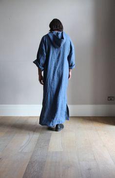 Denim Blue pure linen men's kaftan. Hooded tunic. by YUMEworld