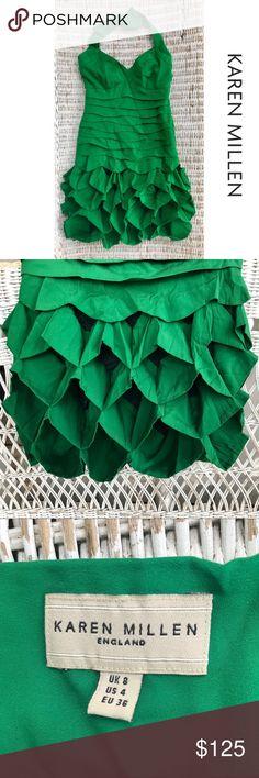 "🆕 {Karen Millen England} Designer Silk Dress ✯KAREN MILLEN England- Designer Cocktail Dress ✯VERY RARE piece! ✯Gorgeous emerald silk w/ unique tiered ruffles ✯Fully Lined ✯Low back / Halter neck ✯Hidden side zip closure  ✯In EXCELLENT condition — only worn once or twice!  ✩Approx. Measurements: BUST ~ 16"" (w/ some extra room in cup areas) HIPS ~ 15"" LENGTH ~ 35"" Karen Millen Dresses"