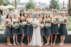 Short Gray Jenny Yoo Bridesmaid Dresses