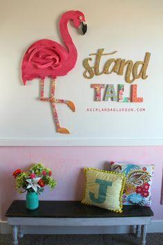 DIY - stand tall–giant flamingo - fun flamingo wall art diy with floracraft Easy Diy Crafts, Diy Craft Projects, Craft Tutorials, Craft Ideas, Vinyl Crafts, Yarn Crafts, Sewing Crafts, Flamingo Art, Pink Flamingos