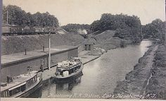 Morris Canal in Roxbury Township, New Jersey NJ Lake Hopatcong, Canal Boat, New Jersey, Vintage Photos, Landing, Trains, Boats, Scene, History