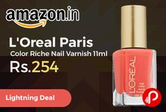 Amazon #LightningDeal is offering L'Oreal Paris Color Riche Nail Varnish 11ml 400 Tangerine Crush Just at Rs.254. This unique formula across 23 shades are designed to give your nails the ultimate care and color, Try on this new selection for just Rs. 299.   http://www.paisebachaoindia.com/loreal-paris-color-riche-nail-varnish-11ml-just-at-rs-254-amazon/