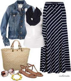 """Striped Maxi"" by archimedes16 on Polyvore"