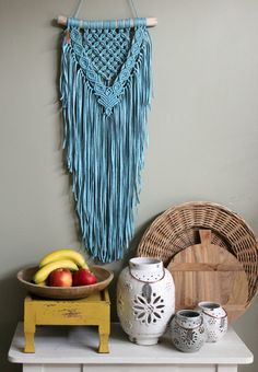 Macrame wall hanging Something Blue Macrame Projects, Yarn Projects, Arts And Crafts, Diy Crafts, Deco Boheme, Macrame Knots, Something Blue, Diy Art, Tatting