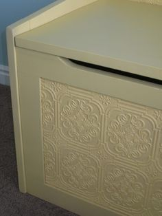 Paintable wallpaper toy box makeover