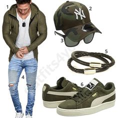 Olivgrüner Herren-Style mit Hoodie, Cap und Sneakern (m0965) #camouflage #puma #newyork #jeans #hoodie #outfit #style #herrenmode #männermode #fashion #menswear #herren #männer #mode #menstyle #mensfashion #menswear #inspiration #cloth #ootd #herrenoutfit #männeroutfit