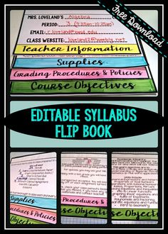 Free Editable PowerPoint for Creating a Flip Book Syllabus                                                                                                                                                                                 More
