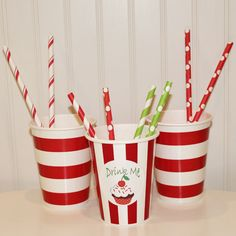 Red Sailor Striped Paper Drinking Cups
