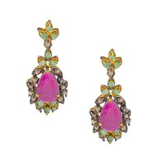 ES213 -Ασημένια επίχρυσα σκουλαρίκια Vintage Enamel, Vintage, Antiques, Accessories, Collection, Fashion, Antiquities, Moda, Vitreous Enamel