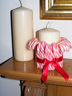 Very cute and easy! Just a sticky pad and small candy canes (plus a ribbon!)