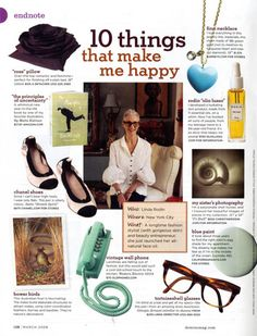 I think I want to make one for myself and put it in my work cube. then when i'm feeling bored or want to leave, i can be reminded!   10 things that make me happy - linda rodin
