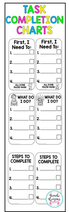 Task completion list. Perfect for students that need to become more independent and need help with work completion. Provides a visual and students or teacher can check off when a step is completed.