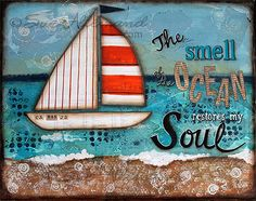 The SMELL of the OCEAN Original Art Print 10 x 8 by AJoyfulSoulGifts, $18.00   Matted to 11 x 14.  Art by Sue Allemand