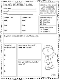 Student Information Form - Perfect for the beginning of the year! $ [mkt]