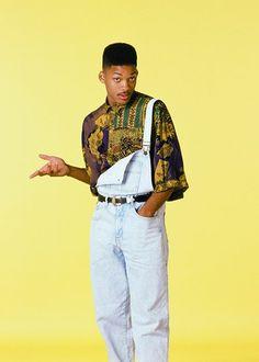 style des années 80Will Smith en salopette typique de l'époque et chemise motifs afro