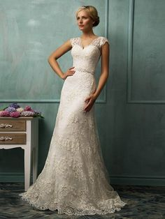 SHEATH/COLUMN V-NECK CAP SLEEVES SASH/RIBBON/BELT CHAPEL TRAIN LACE WEDDING DRESSES WITH BUTTONS AND BEADINGS