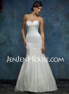 Wedding Dresses - $185.99 - Mermaid Sweetheart Chapel Train Organza  Satin Wedding Dresses With Ruffle  Lace  Beadwork (002000325) http://jenjenhouse.com/Mermaid-Sweetheart-Chapel-Train-Organza--Satin-Wedding-Dresses-With-Ruffle--Lace--Beadwork-002000325-g325