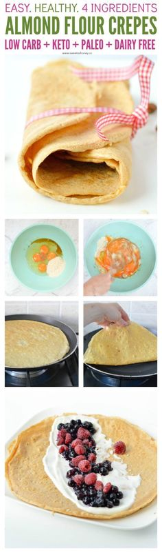 Almond Flour Crepes - KETO, GF, dairy free. Easy 4 ingredients recipes with eggs, almond flour, coconut oil and cinnamon. Best Low carb dairy free crepes.