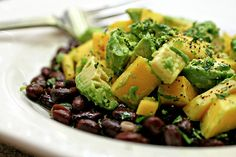 Mango, avocado and black bean salad with lime vinaigrette.  Made this last night and it was good, but added tortilla chips.  I think I would warm up the beans first too and maybe add some more seasonings. #beans #mexican #maincourse